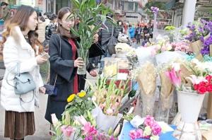 市民抢购鲜花装扮家